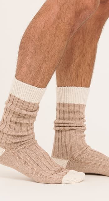 Men's alpaca bed socks - undyed shades
