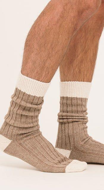 Men's alpaca bed socks - undyed shades