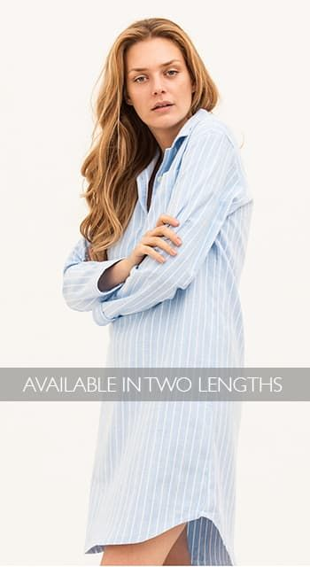 blue striped warm nightshirt