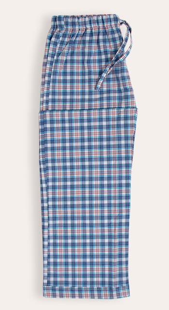 kids pyjama bottoms in a blue check