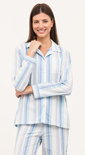 summer pyjamas in fun blue stripe