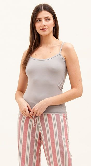 womens tall pyjama bottoms in pink and grey stripe