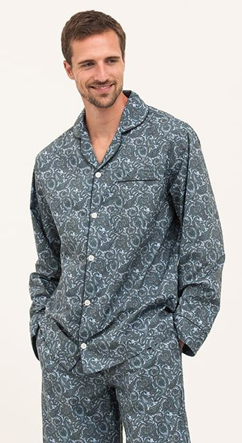 blue paisley print pyjamas for men