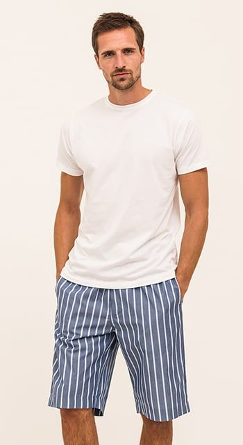 blue stripe mens pj shorts