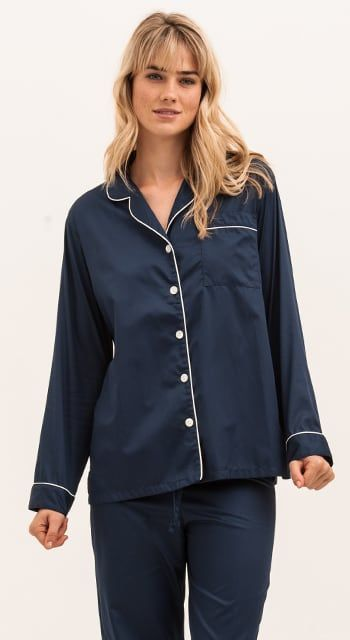 luxury pyjamas in navy cotton sateen ... 6e28a7711