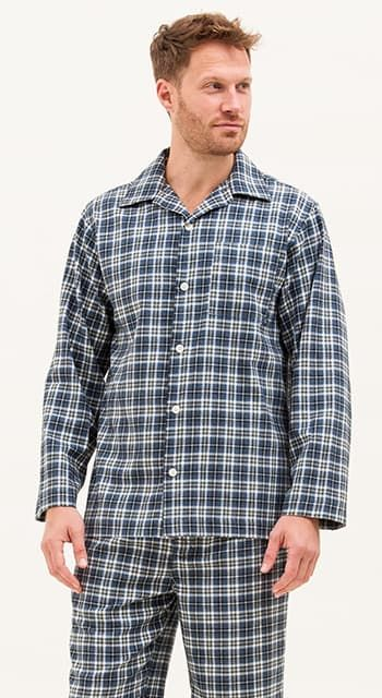 mens organic cotton pyjamas in a blue check