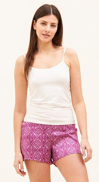womens luxury silk pyjama shorts