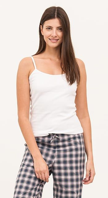 women's cotton pyjamas blue check
