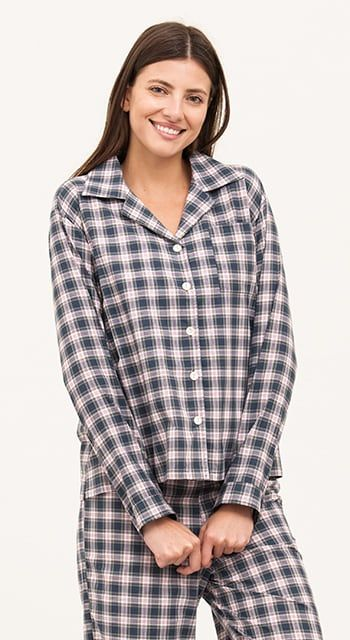 womens cotton pyjamas in blue chek