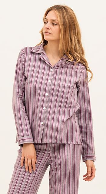 luxury brushed cotton striped pyjamas
