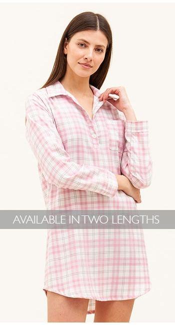 womens pink check nighthirt
