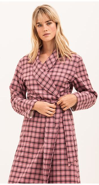 luxury dressing gown in brushed cotton and wool blend