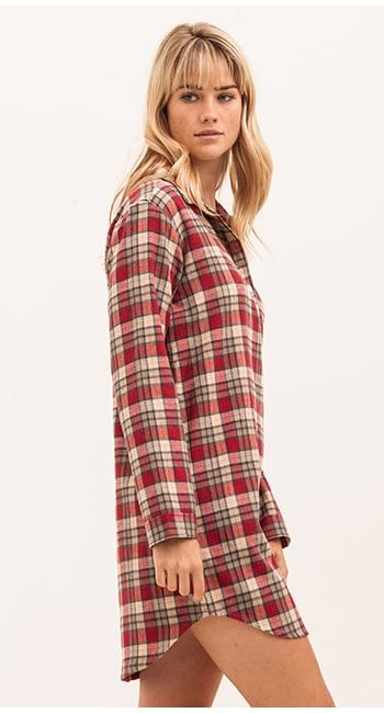 Women s Pretty Nightshirt in a Soft Pink Check  8d92af358