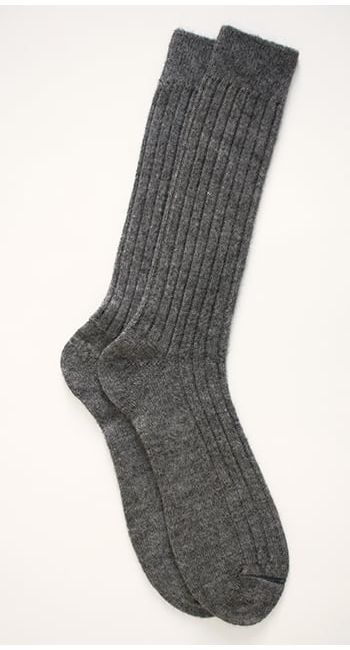 luxury alpaca bed socks in natural grey