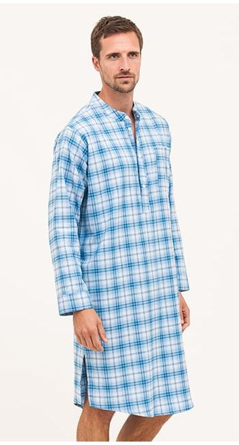 mens grandpa collar cotton nightshirt