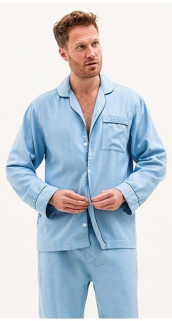mens blue striped brushed cotton pyjamas