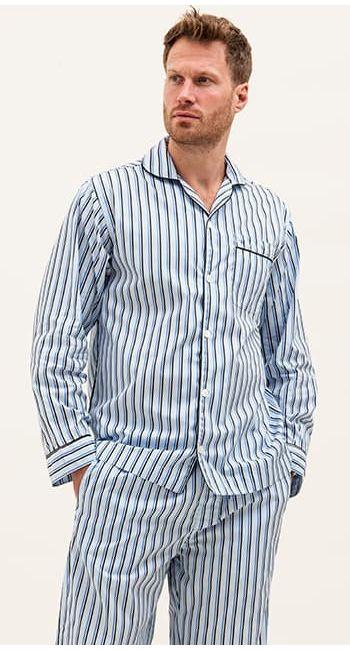 classic blue and white stripe pyjamas
