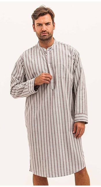 mens striped brushed cotton nightshirt