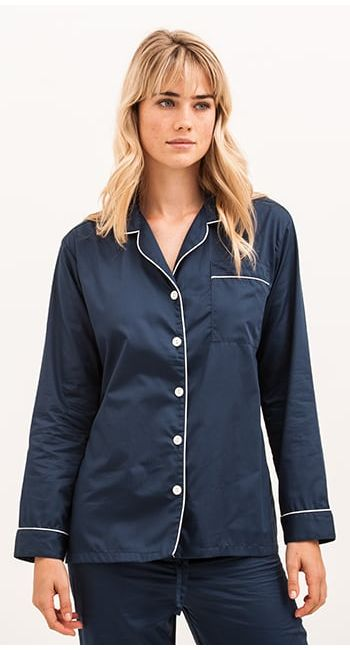 luxury pyjamas in navy cotton sateen
