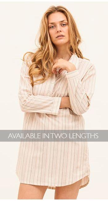 womens blue striped cotton nightshirt