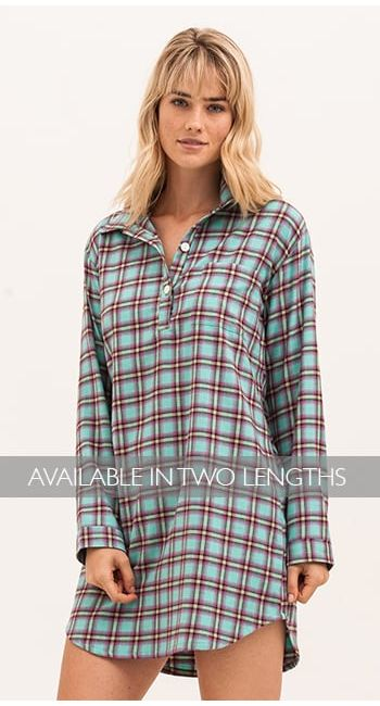 women's turquoise check nightshirt
