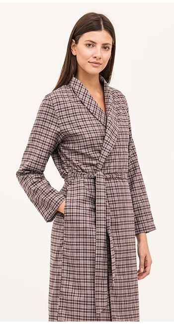 luxury pink check dressing gown in brushed cotton and wool blend