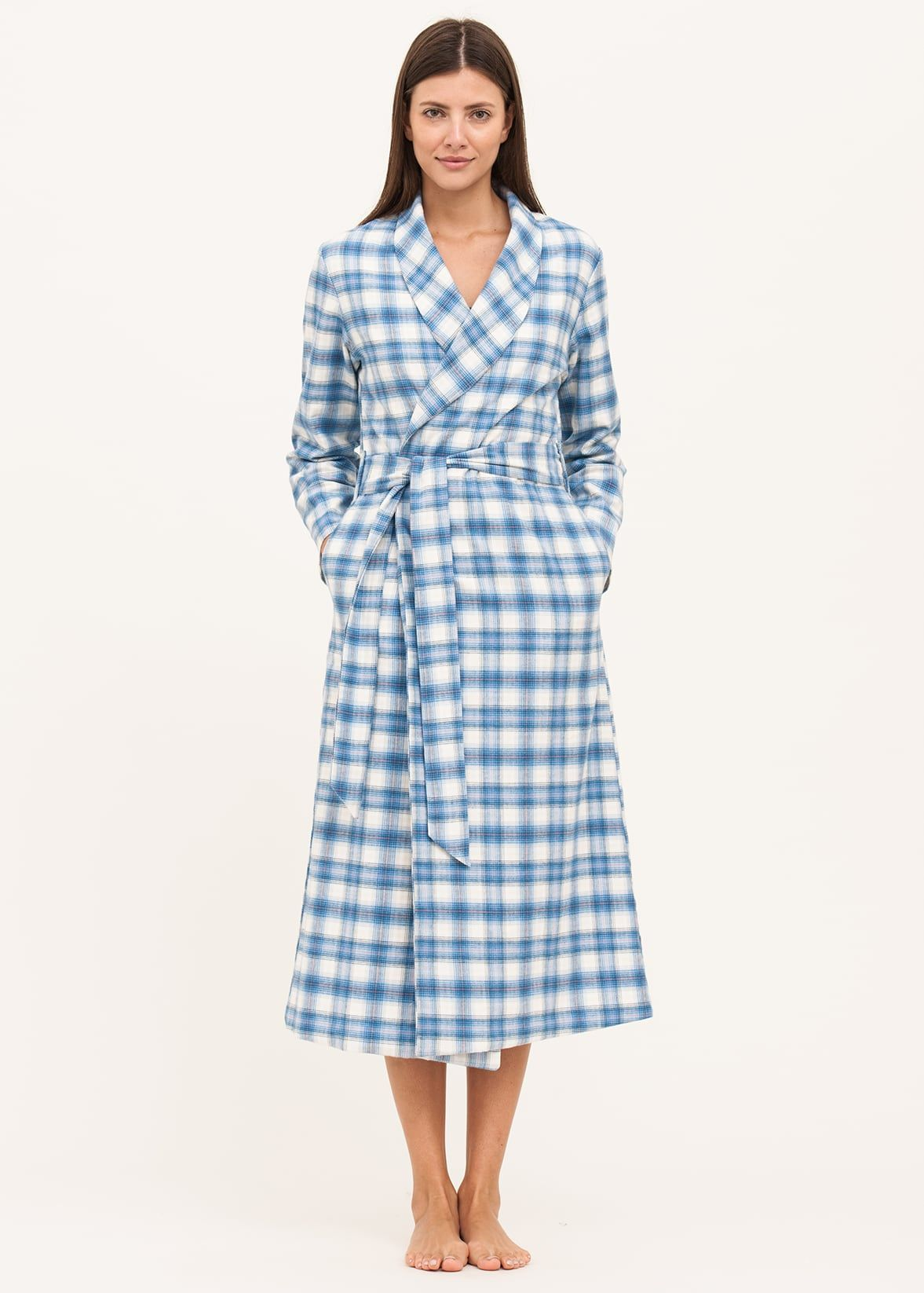 e9f9ae51d7 luxury brushed cotton dressing gown in blue check