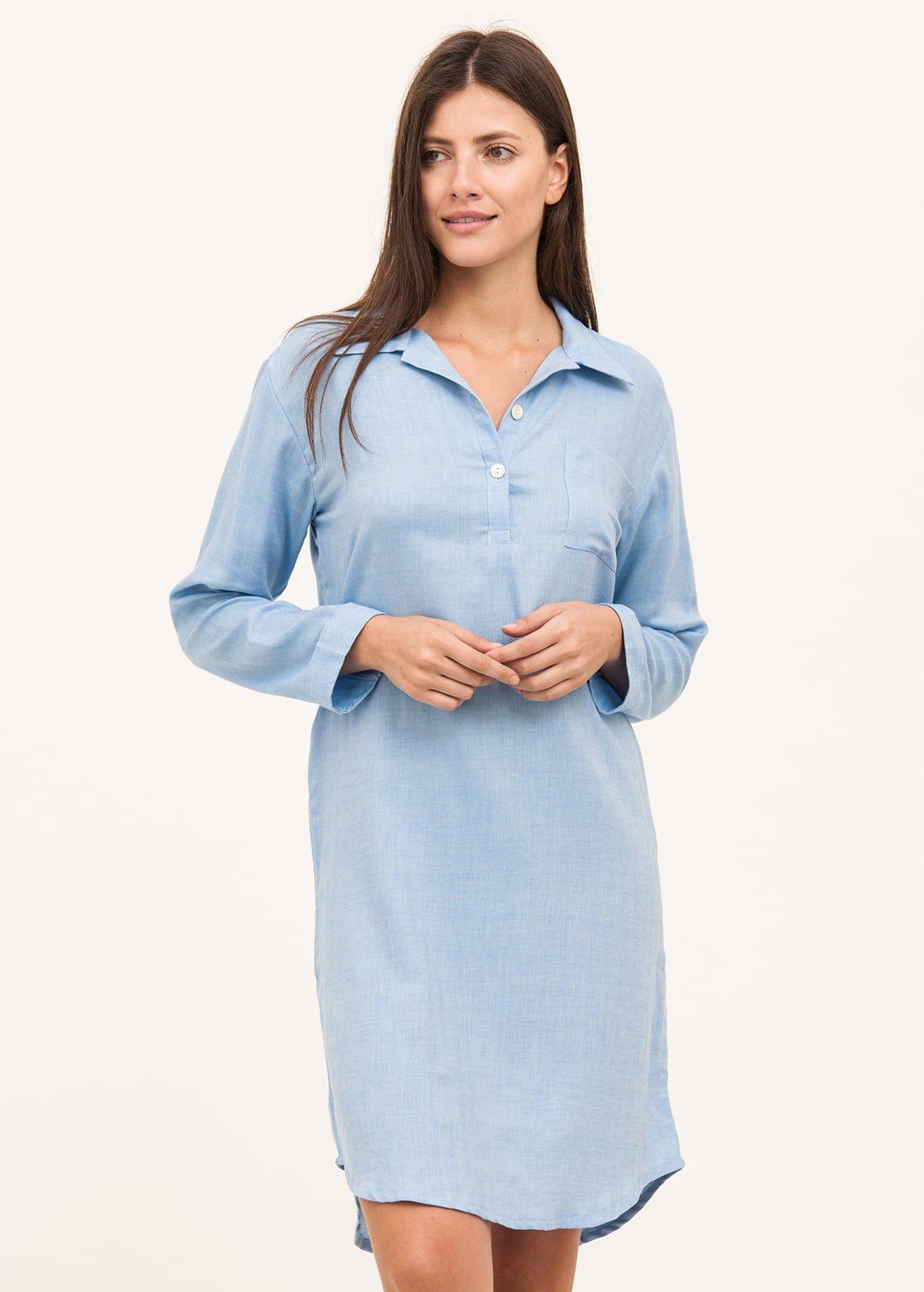 luxury cashmere nightshirt in blue herringbone 3fe93a2db