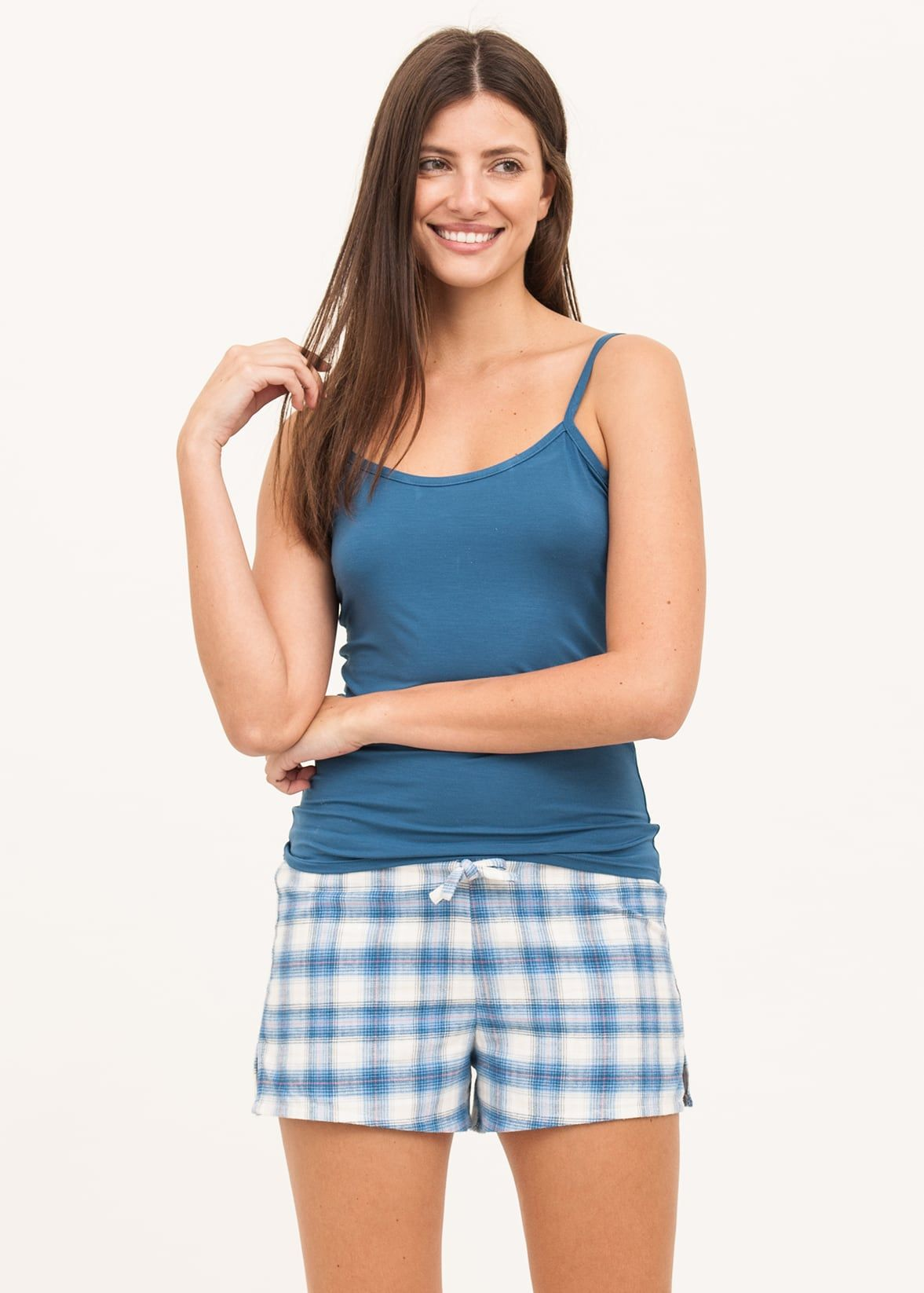 Ladies Light Blue Check Bed Shorts  7ae019c03