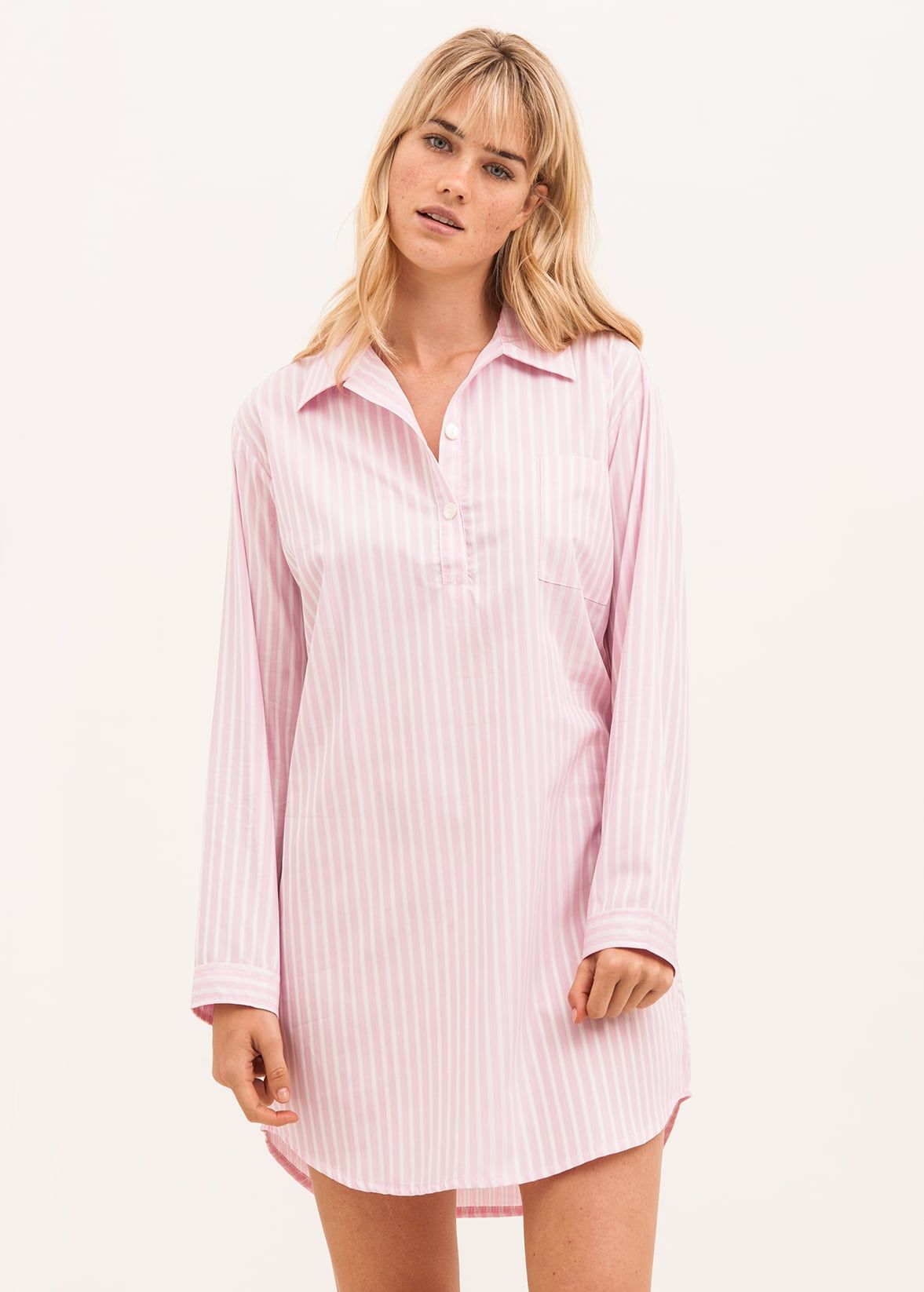 womens pink stripe nightshirt 03e0e715d