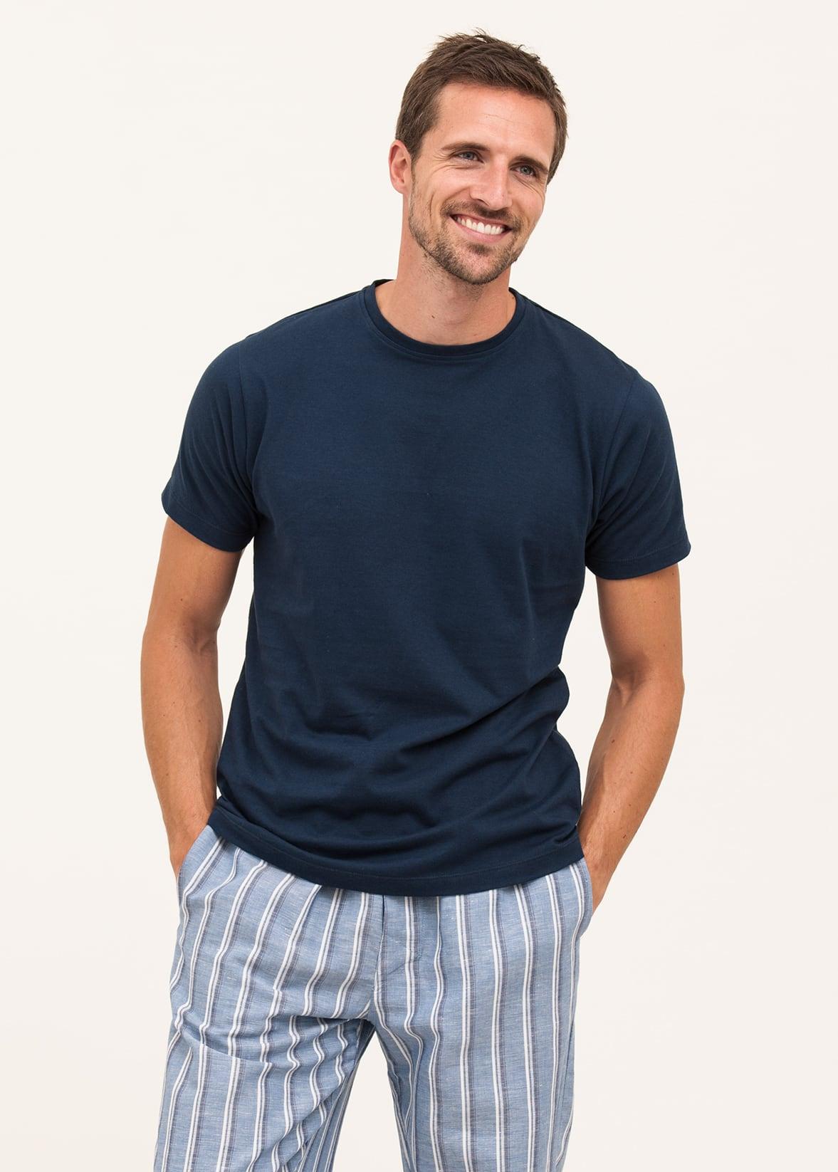 f8a90e2c23d4 Men's Linen/Cotton Blend Pyjama Trousers   Blue & White Stripe   PJ Pan